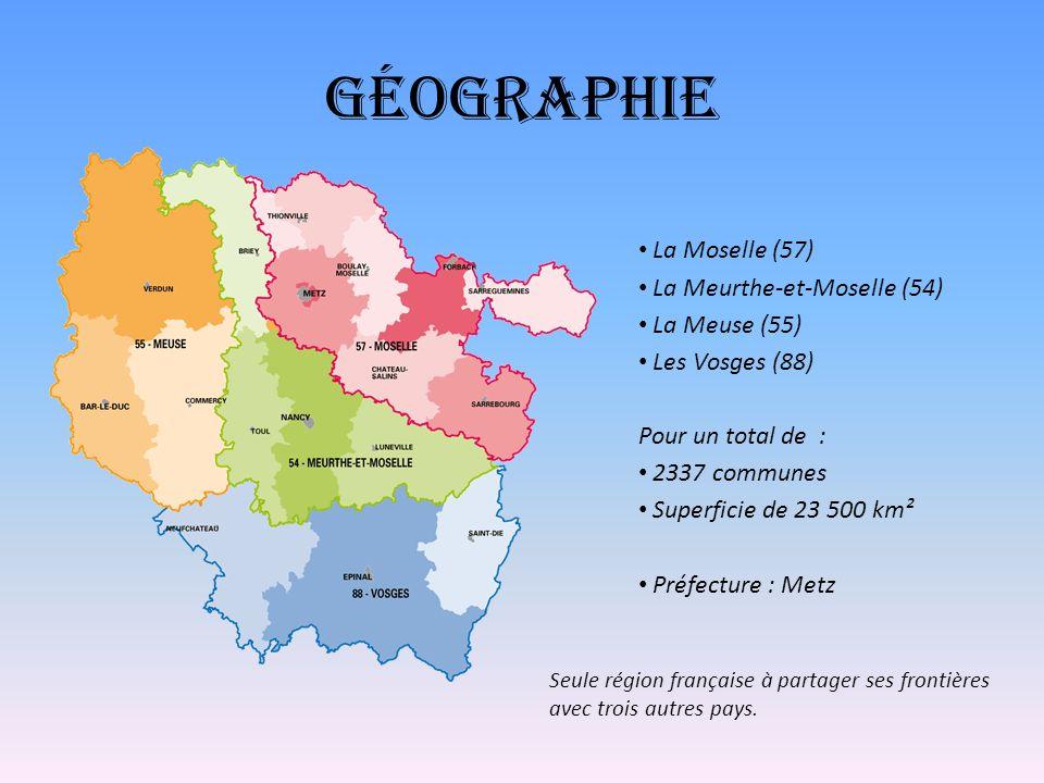 Géographie La Moselle (57) La Meurthe-et-Moselle (54) La Meuse (55)