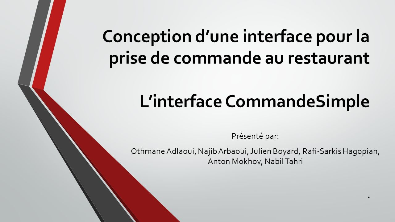 Conception d'une interface pour la prise de commande au restaurant L'interface CommandeSimple