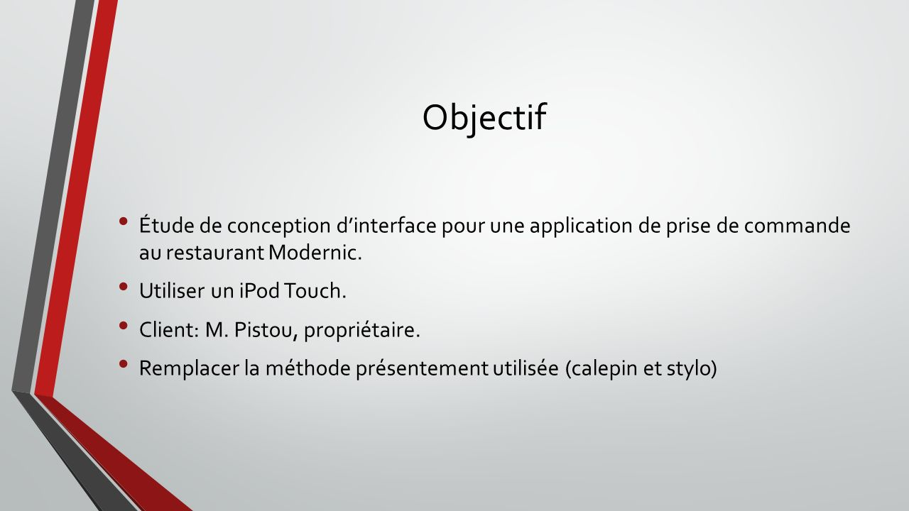 Objectif Étude de conception d'interface pour une application de prise de commande au restaurant Modernic.