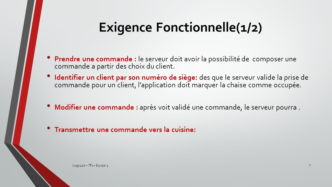 Exigence Fonctionnelle(1/2)