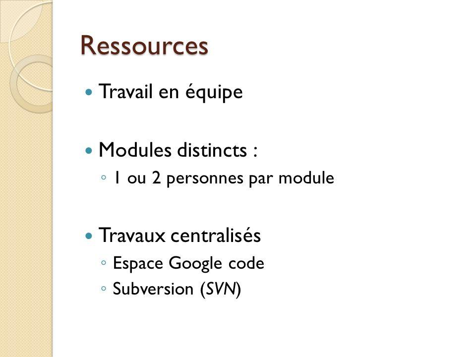 Ressources Travail en équipe Modules distincts : Travaux centralisés