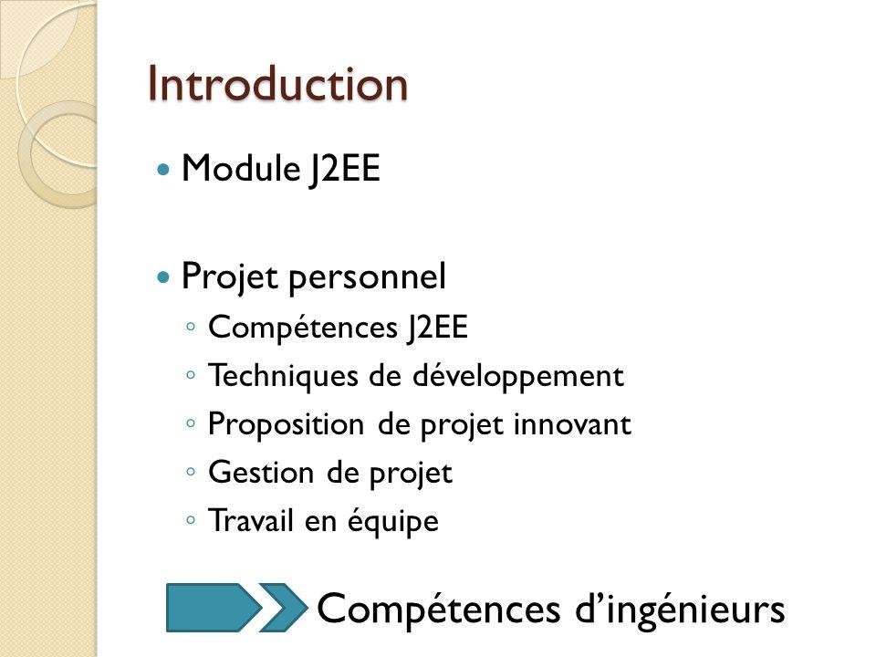 Introduction Compétences d'ingénieurs Module J2EE Projet personnel