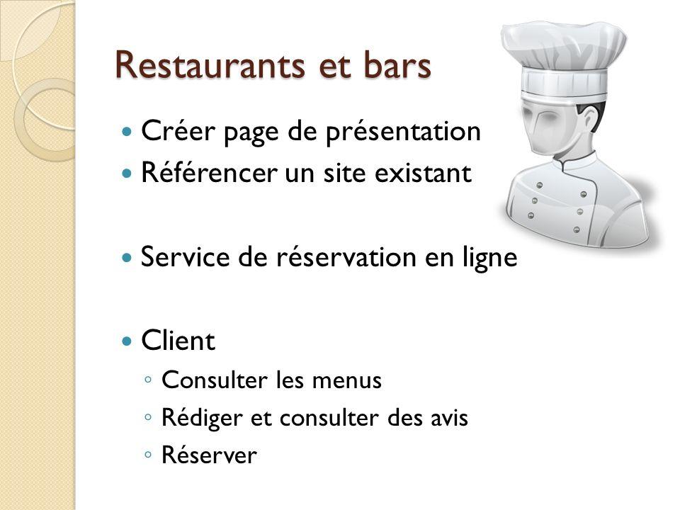 Restaurants et bars Créer page de présentation