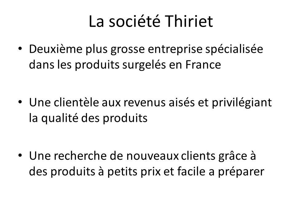 La société Thiriet Deuxième plus grosse entreprise spécialisée dans les produits surgelés en France.