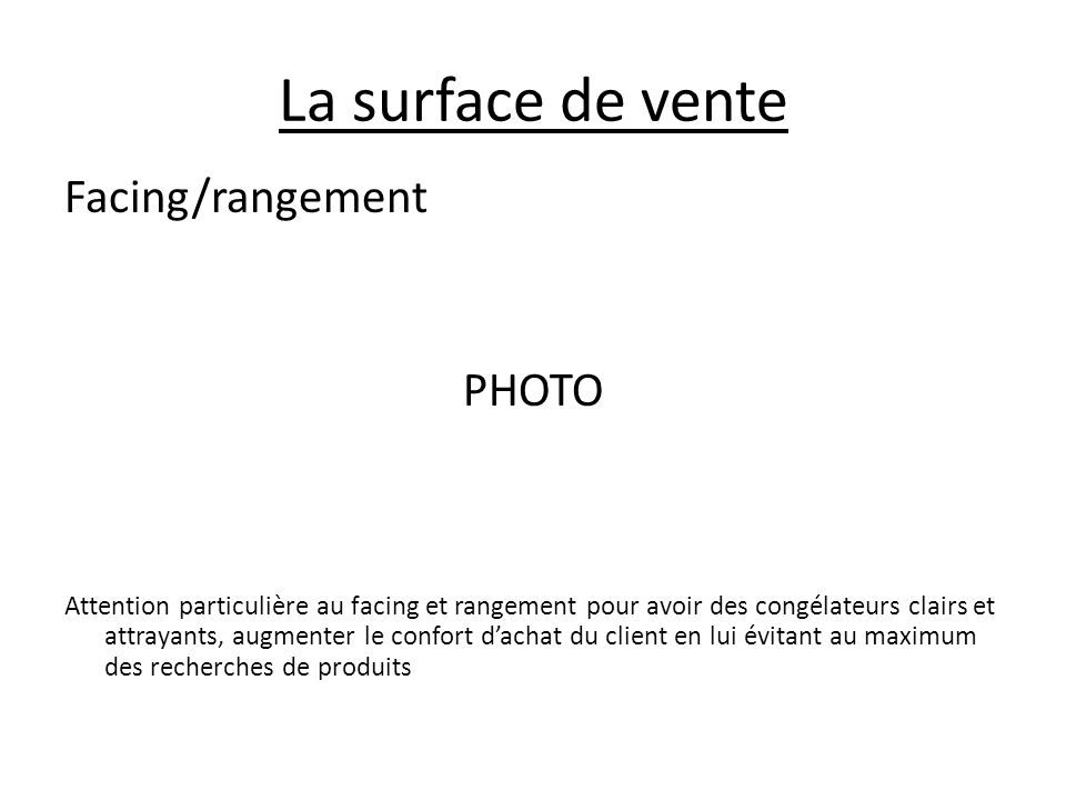 La surface de vente Facing/rangement PHOTO