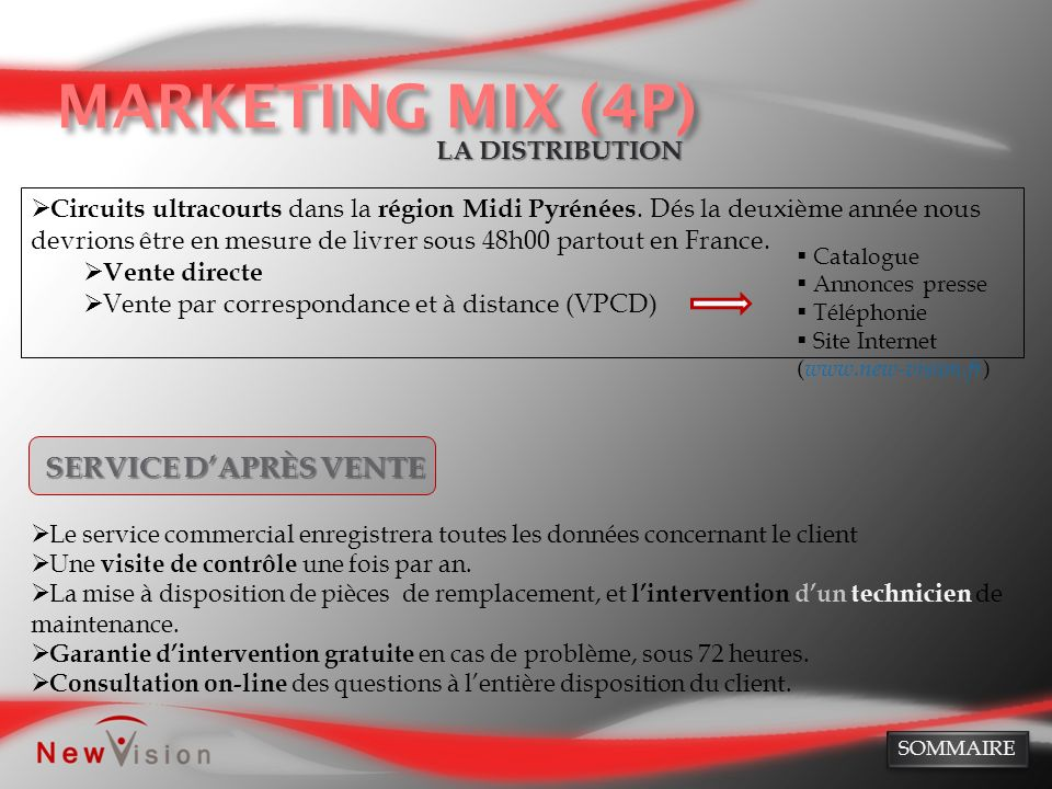 MARKETING MIX (4P) SERVICE D'APRÈS VENTE LA DISTRIBUTION
