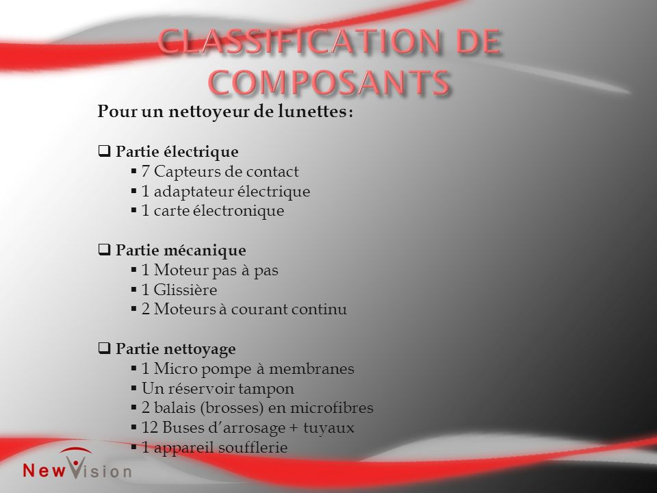 CLASSIFICATION DE COMPOSANTS