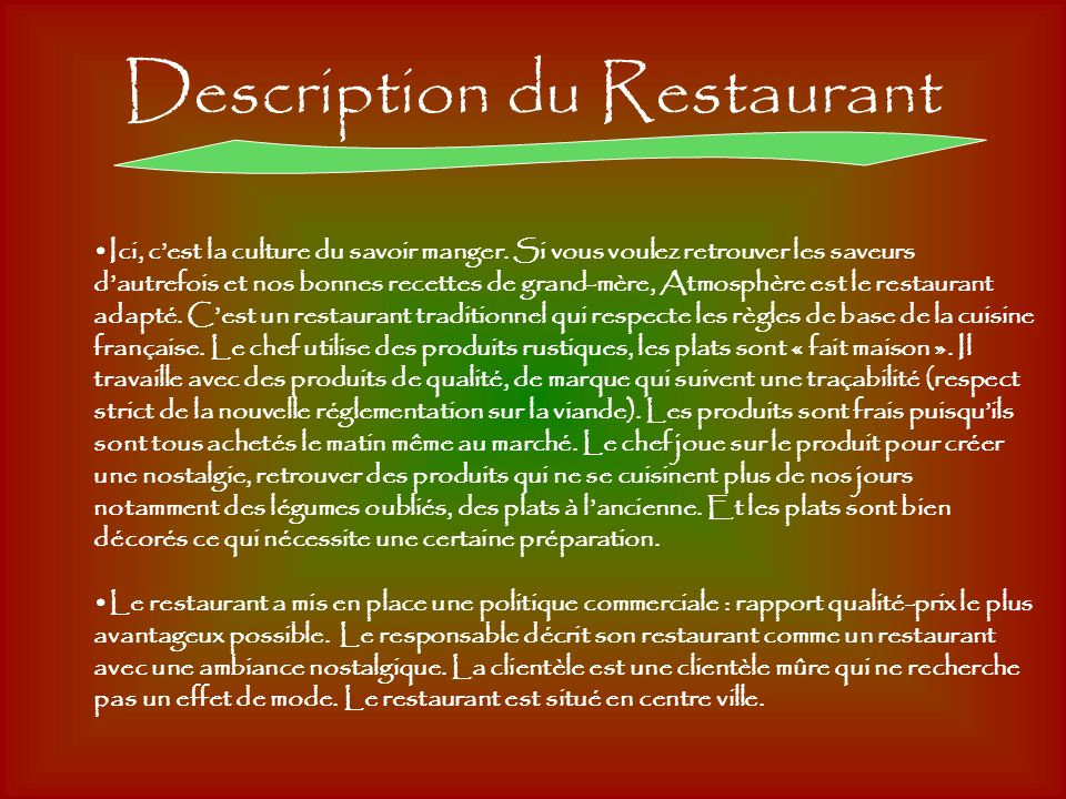 Description du Restaurant