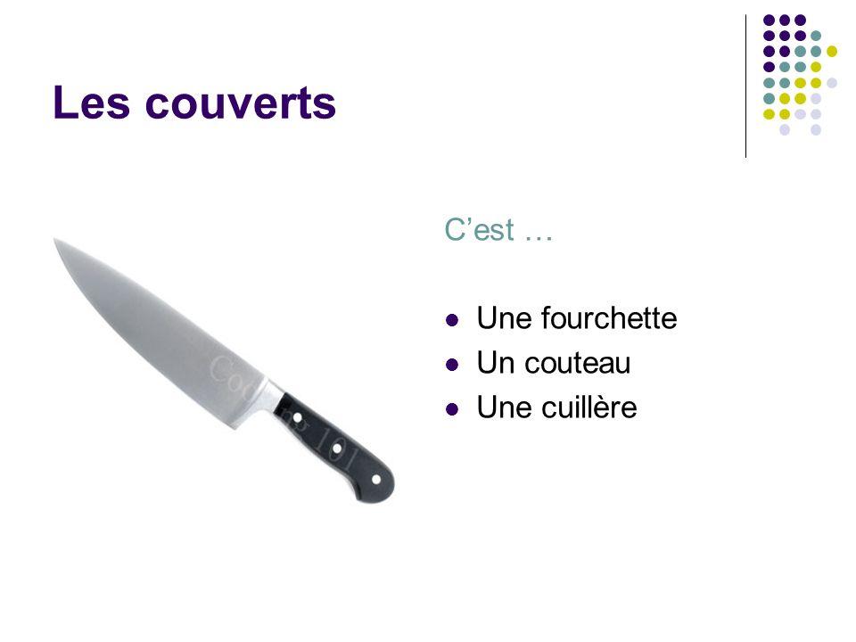 Les couverts C'est … Une fourchette Un couteau Une cuillère