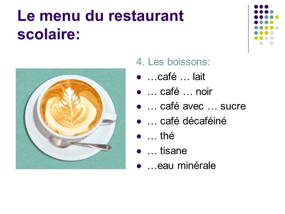 Le menu du restaurant scolaire: