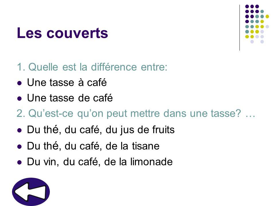 Les couverts 1. Quelle est la différence entre: Une tasse à café