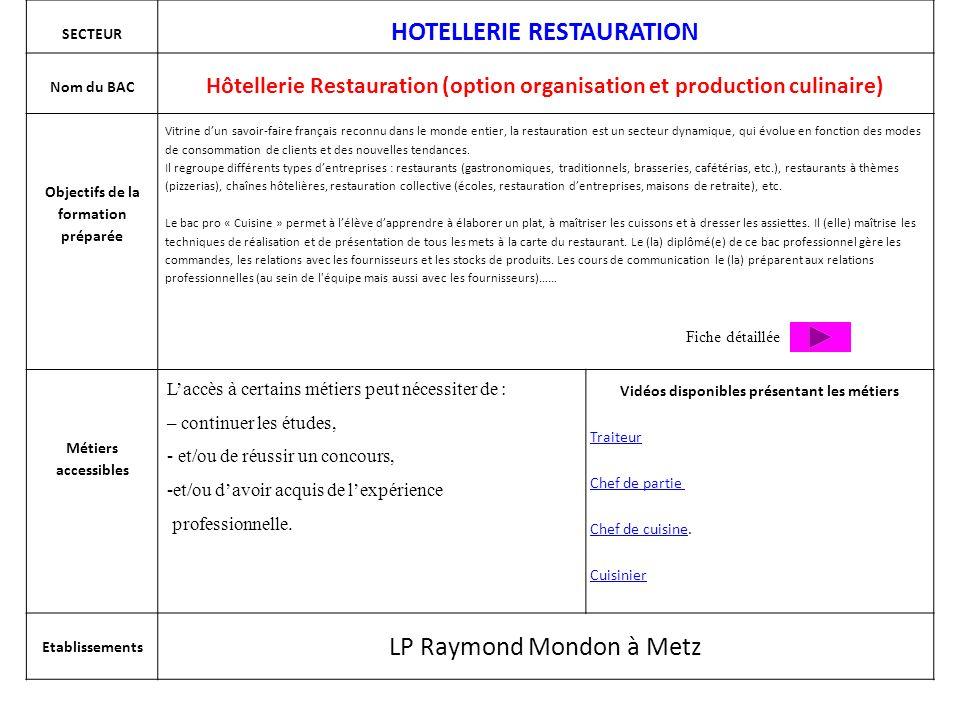 H tellerie restauration option service et commercialisation ppt video online t l charger - Fiche metier chef de cuisine ...