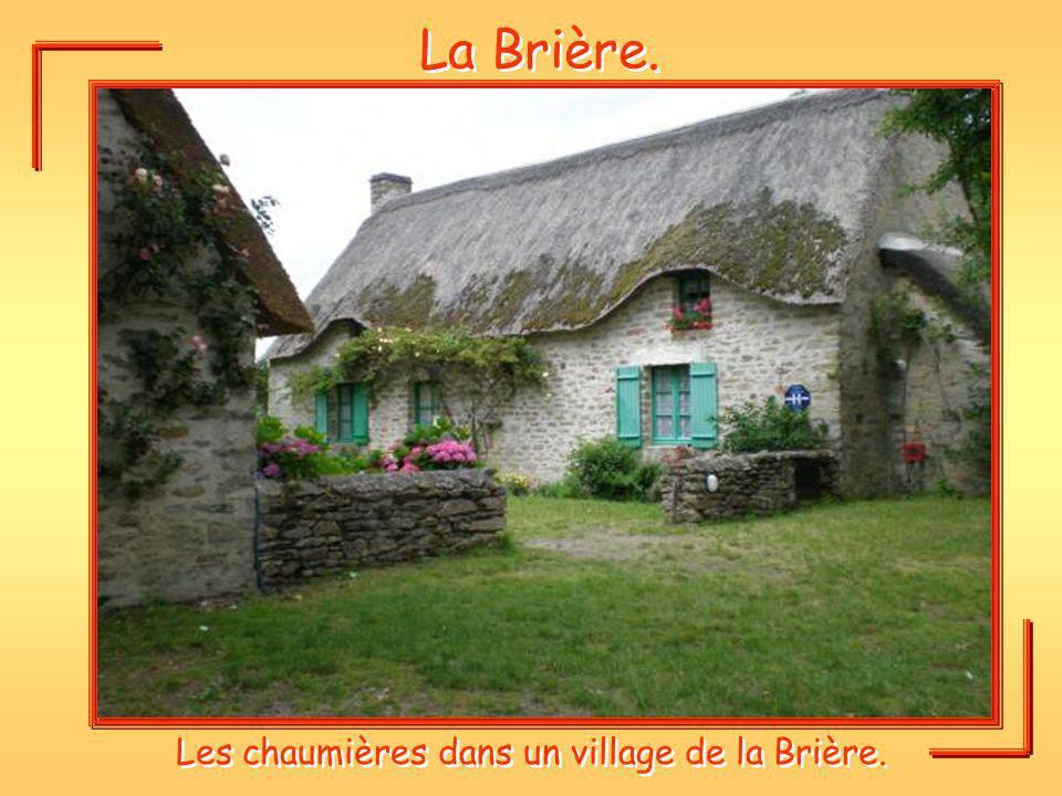 Les chaumières dans un village de la Brière.