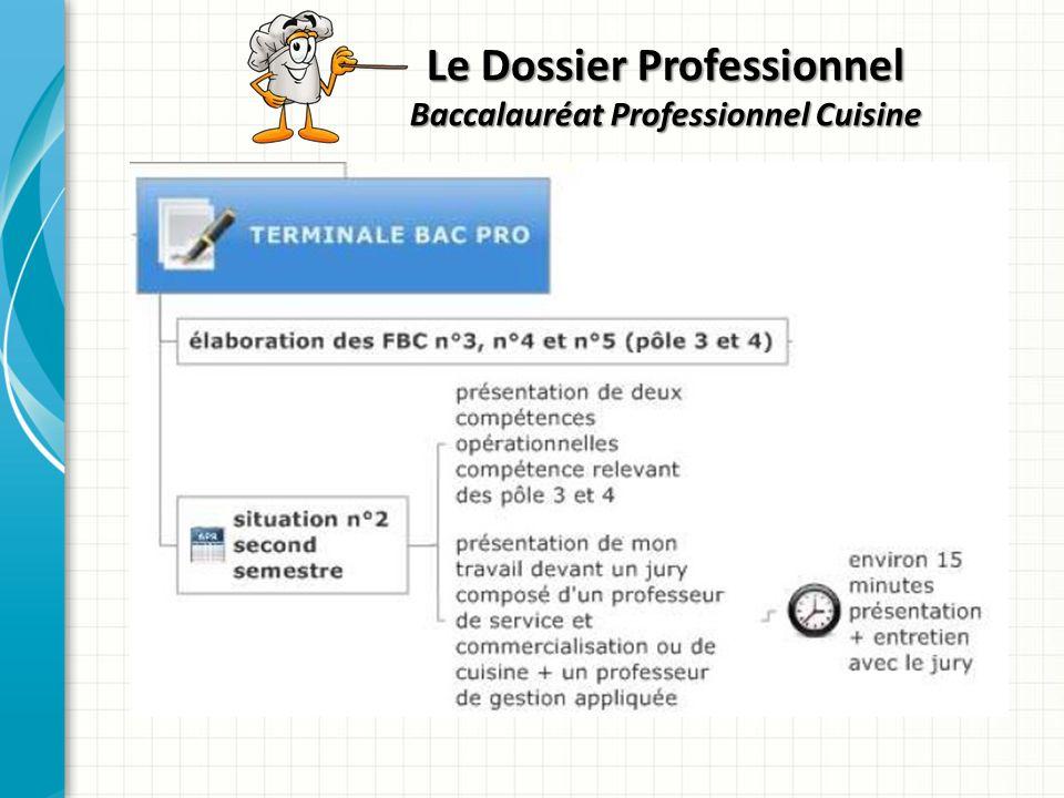 Le Dossier Professionnel Baccalauréat Professionnel Cuisine