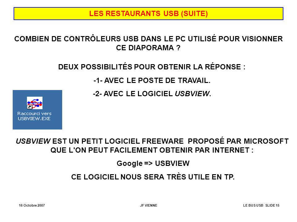 LES RESTAURANTS USB (SUITE)