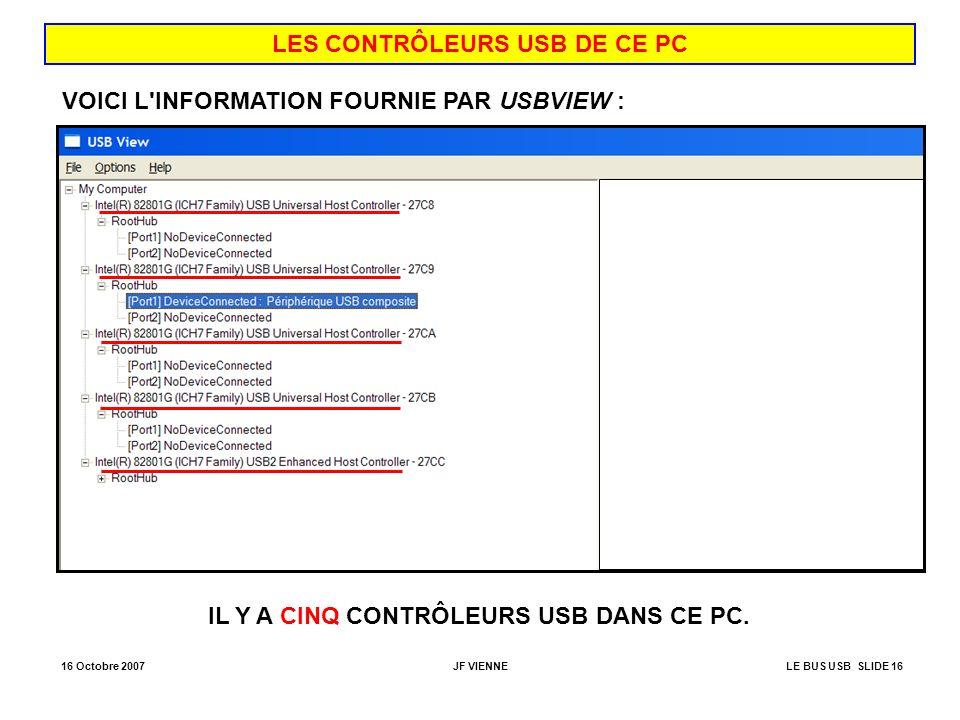 LES CONTRÔLEURS USB DE CE PC IL Y A CINQ CONTRÔLEURS USB DANS CE PC.