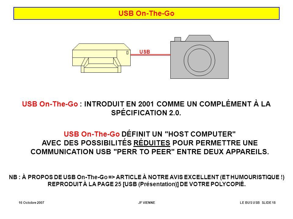USB On-The-Go USB. USB On-The-Go : INTRODUIT EN 2001 COMME UN COMPLÉMENT À LA SPÉCIFICATION 2.0.