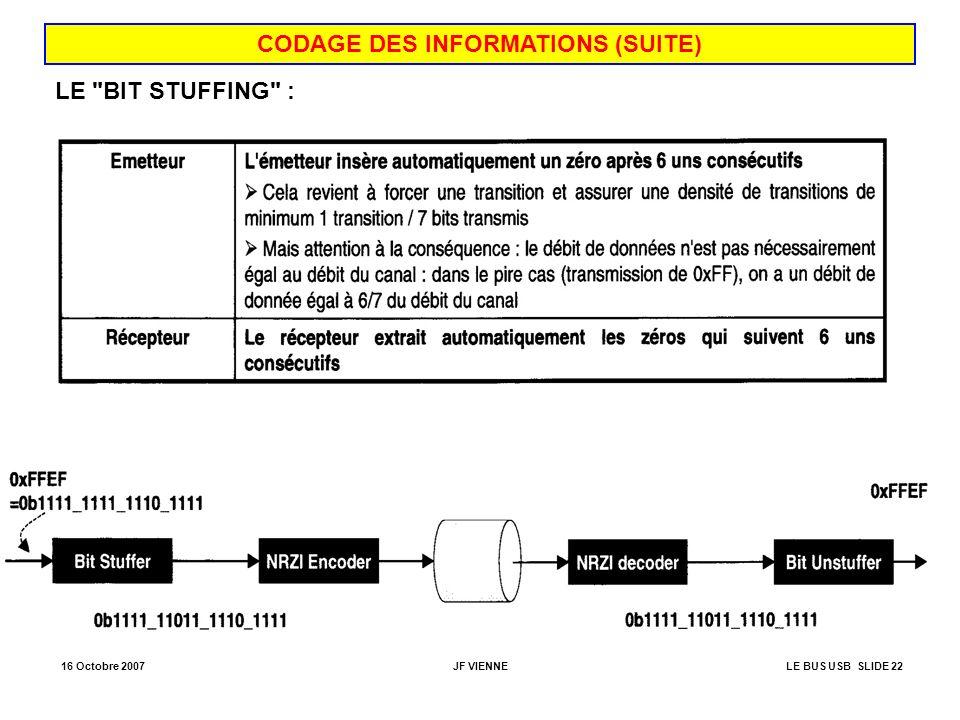 CODAGE DES INFORMATIONS (SUITE)