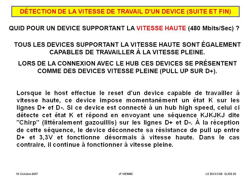 DÉTECTION DE LA VITESSE DE TRAVAIL D UN DEVICE (SUITE ET FIN)