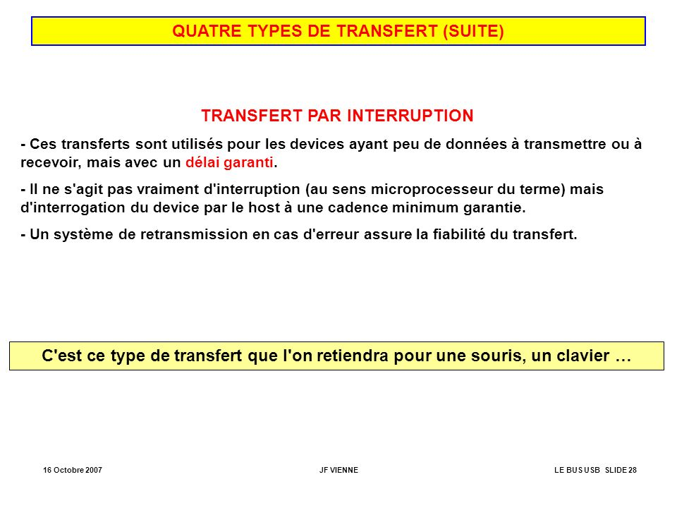 QUATRE TYPES DE TRANSFERT (SUITE) TRANSFERT PAR INTERRUPTION