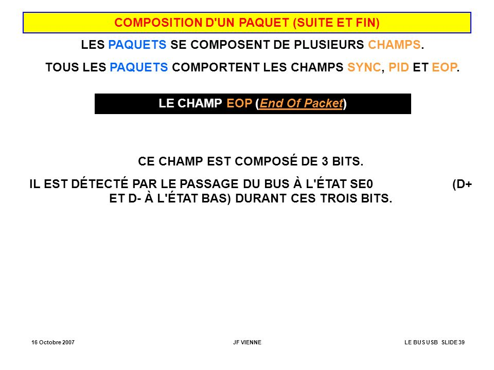 COMPOSITION D UN PAQUET (SUITE ET FIN)
