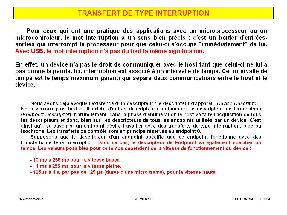 TRANSFERT DE TYPE INTERRUPTION