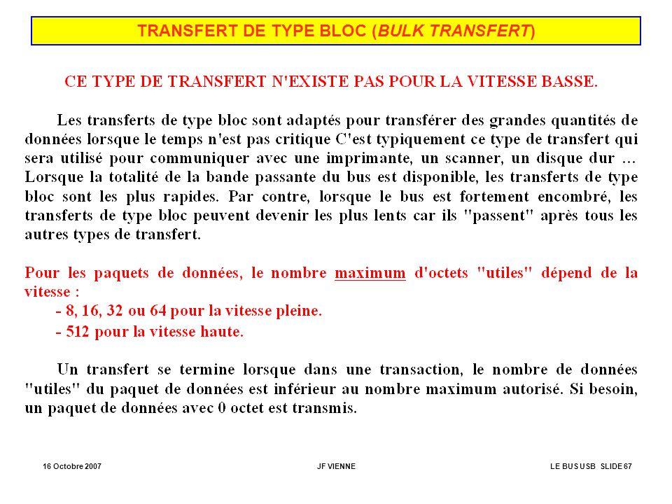 TRANSFERT DE TYPE BLOC (BULK TRANSFERT)