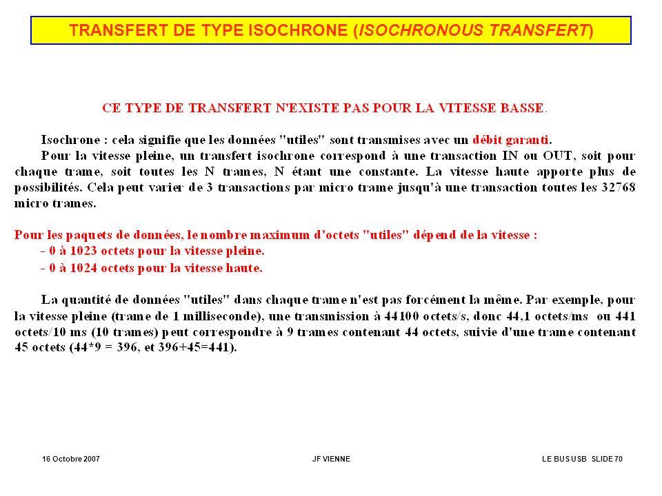 TRANSFERT DE TYPE ISOCHRONE (ISOCHRONOUS TRANSFERT)