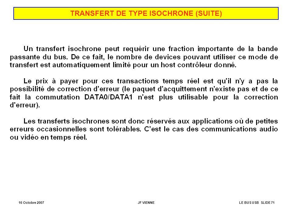 TRANSFERT DE TYPE ISOCHRONE (SUITE)