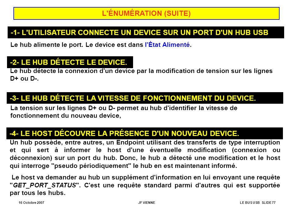 -1- L UTILISATEUR CONNECTE UN DEVICE SUR UN PORT D UN HUB USB