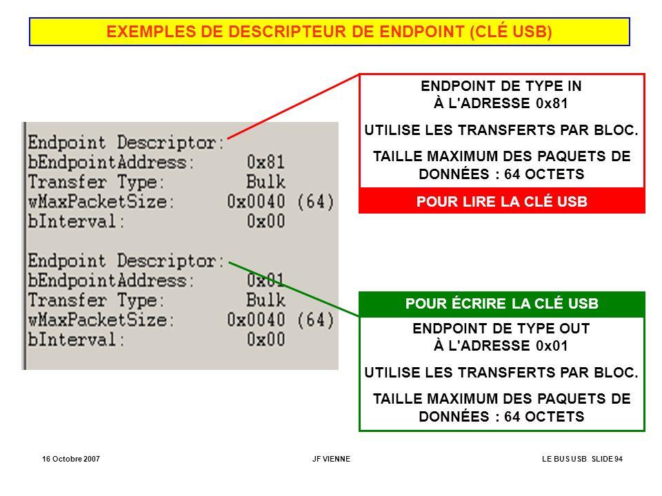 EXEMPLES DE DESCRIPTEUR DE ENDPOINT (CLÉ USB)