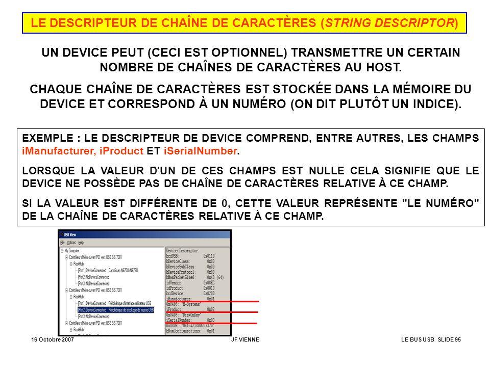 LE DESCRIPTEUR DE CHAÎNE DE CARACTÈRES (STRING DESCRIPTOR)