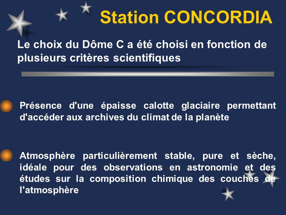 Station CONCORDIA Le choix du Dôme C a été choisi en fonction de plusieurs critères scientifiques.