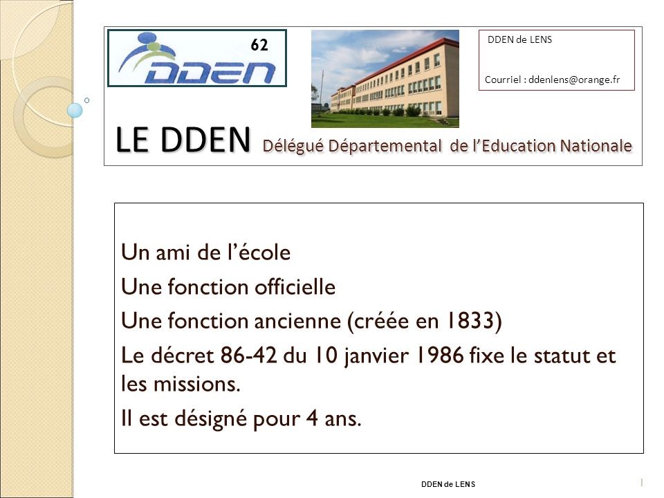 LE DDEN Délégué Départemental de l'Education Nationale