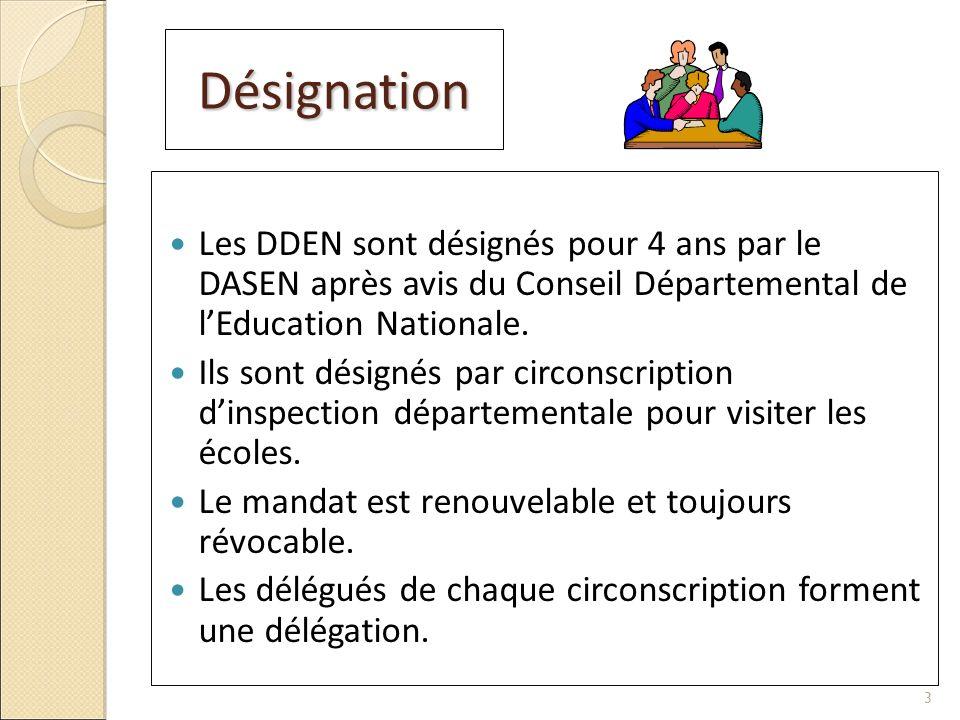 Désignation Les DDEN sont désignés pour 4 ans par le DASEN après avis du Conseil Départemental de l'Education Nationale.