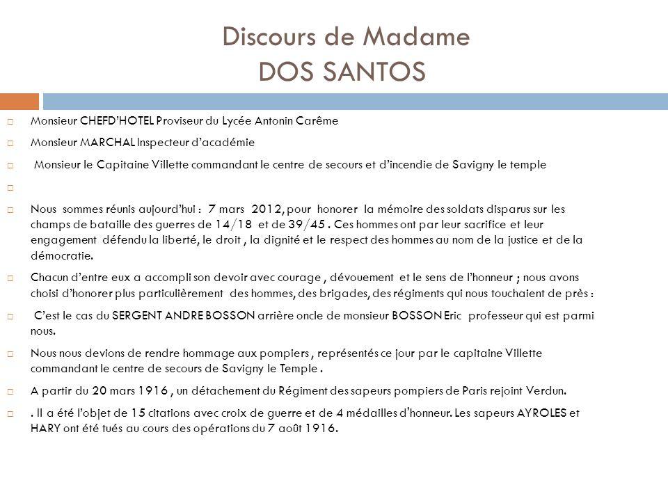Discours de Madame DOS SANTOS