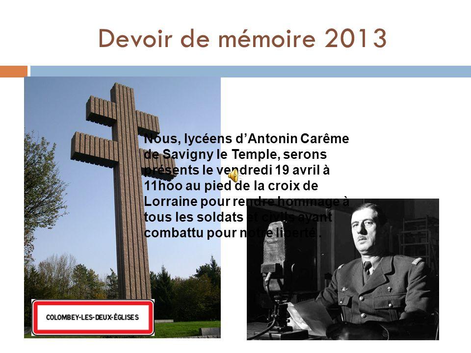 Devoir de mémoire 2013