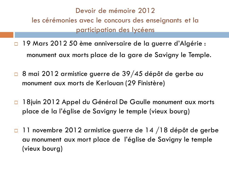 Devoir de mémoire 2012 les cérémonies avec le concours des enseignants et la participation des lycéens