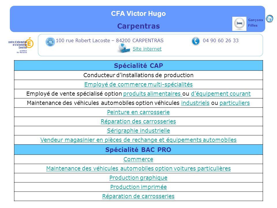 CFA Victor Hugo Carpentras Spécialité CAP Spécialité BAC PRO