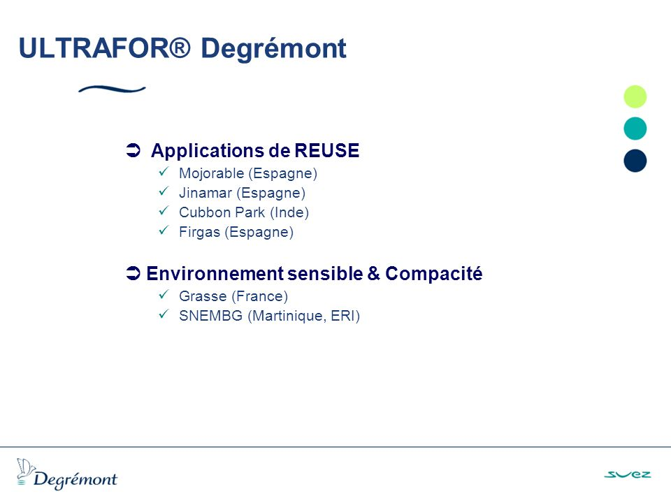 ULTRAFOR® Degrémont  Applications de REUSE