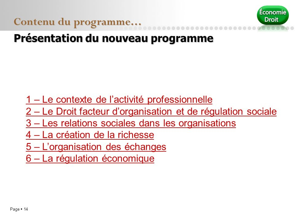 Contenu du programme… Présentation du nouveau programme
