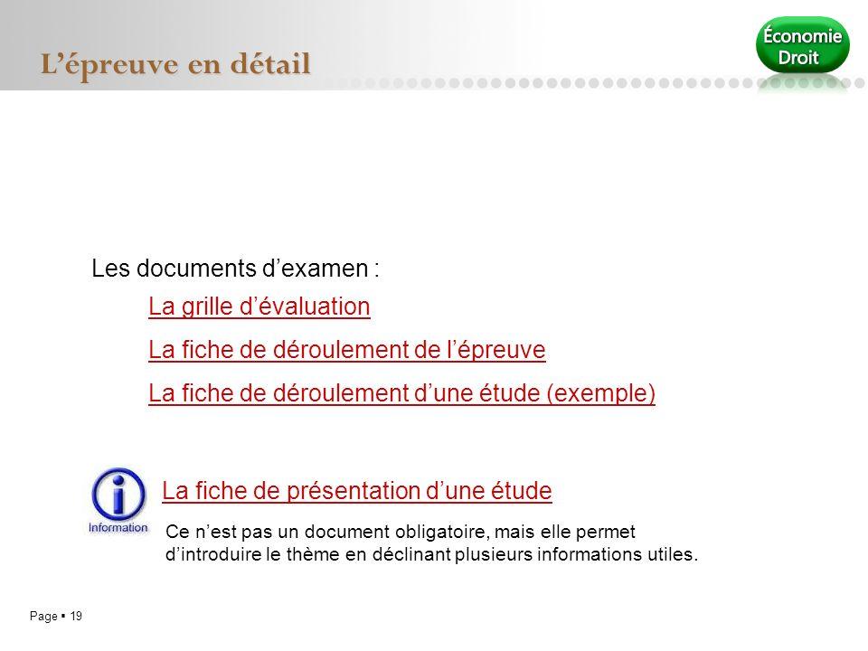 L'épreuve en détail Les documents d'examen : La grille d'évaluation