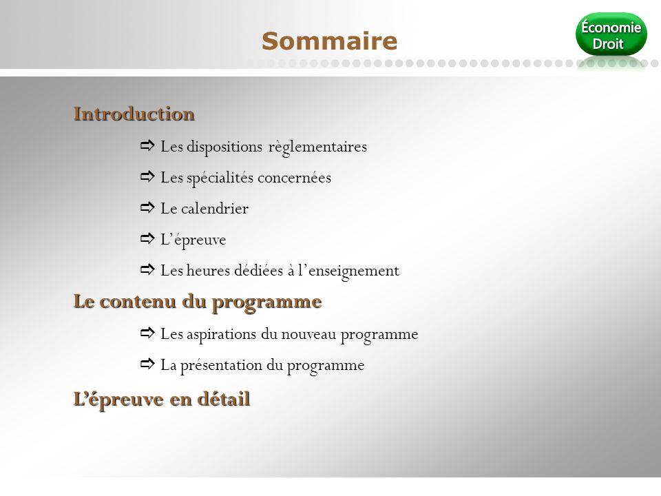 Sommaire Introduction Le contenu du programme L'épreuve en détail