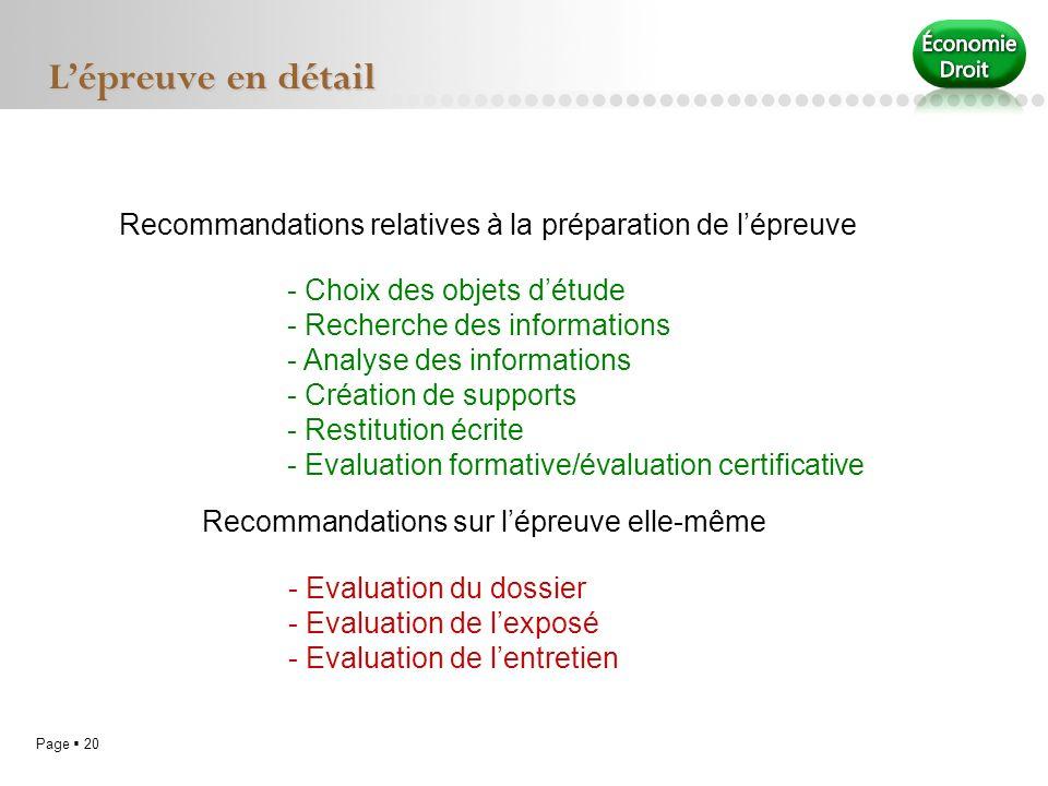 L'épreuve en détail Recommandations relatives à la préparation de l'épreuve.