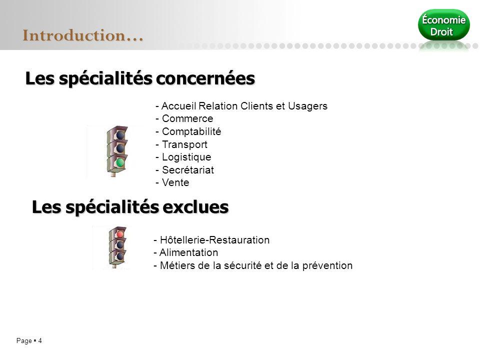 Introduction… Les spécialités concernées Les spécialités exclues