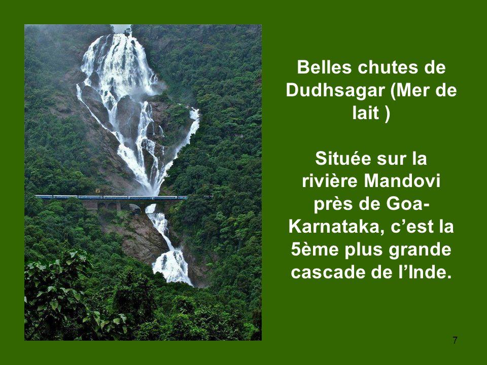 Belles chutes de Dudhsagar (Mer de lait ) Située sur la rivière Mandovi près de Goa-Karnataka, c'est la 5ème plus grande cascade de l'Inde.