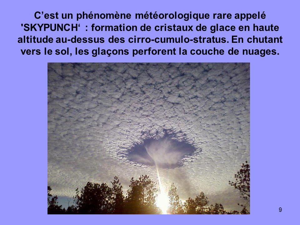 C'est un phénomène météorologique rare appelé SKYPUNCH' : formation de cristaux de glace en haute altitude au-dessus des cirro-cumulo-stratus.