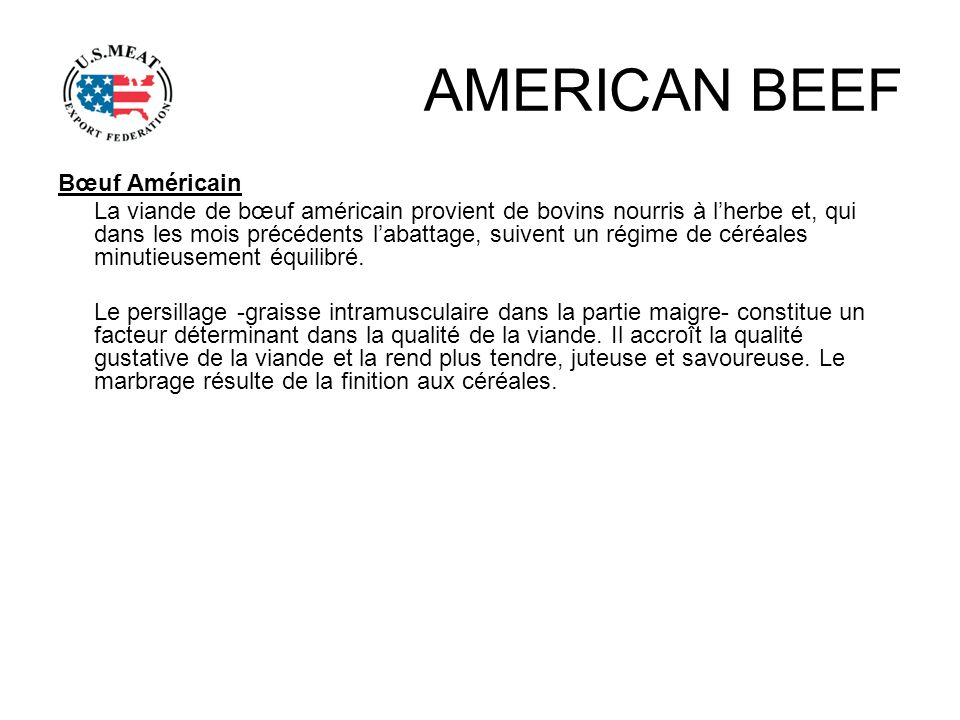 AMERICAN BEEF Bœuf Américain