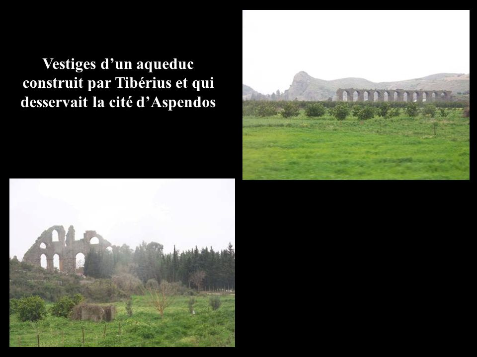 Vestiges d'un aqueduc construit par Tibérius et qui desservait la cité d'Aspendos
