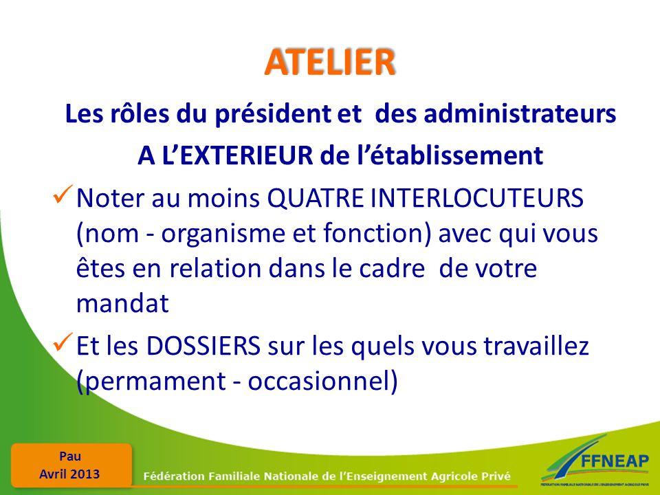 ATELIER Les rôles du président et des administrateurs